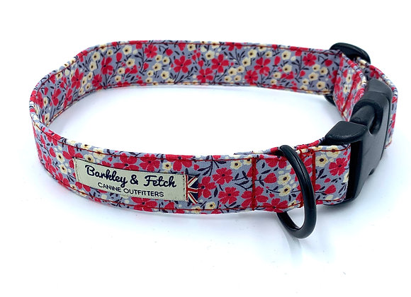 Grey/Pink Ditsy Floral Print Dog Collar