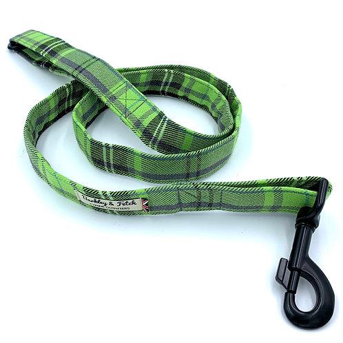 Green and Grey Tartan Dog Lead