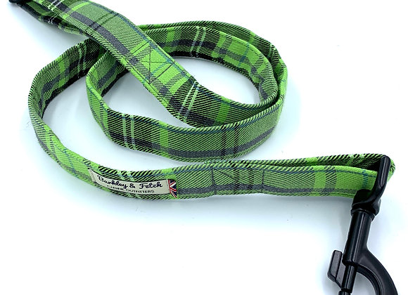 Green and Grey Tartan Dog Lead