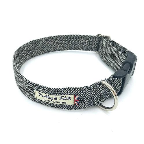 Grey Herringbone Dog Collar
