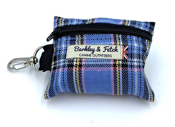 Blue Tartan Poo Bag Holder