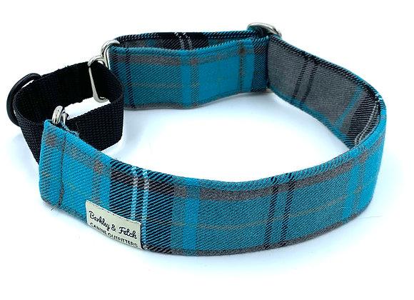 Turquoise Tartan Martingale Collar