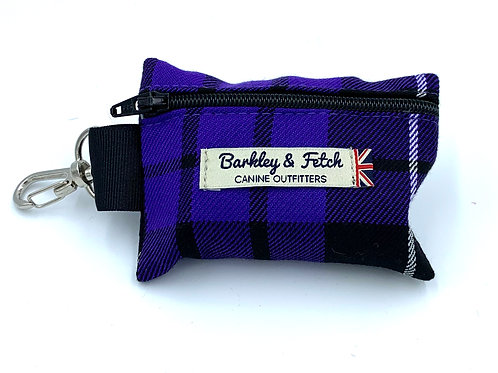 Purple Tartan Poo Bag Holder