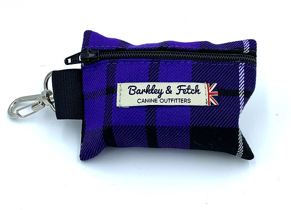 Purple Tartan Poo Bag Holder