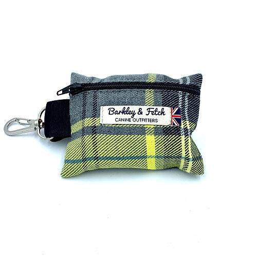 Lemon & Grey Tartan Poo Bag Holder