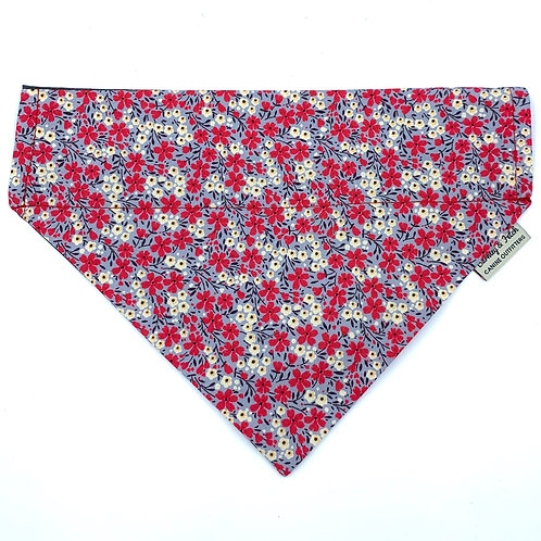 Grey/Pink Disty Floral Print Dog Bandana
