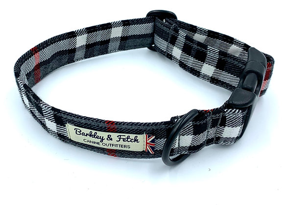 Grey/White Tartan Dog Collar