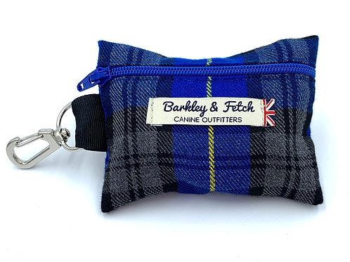 Royal Blue Tartan Poo Bag Holder