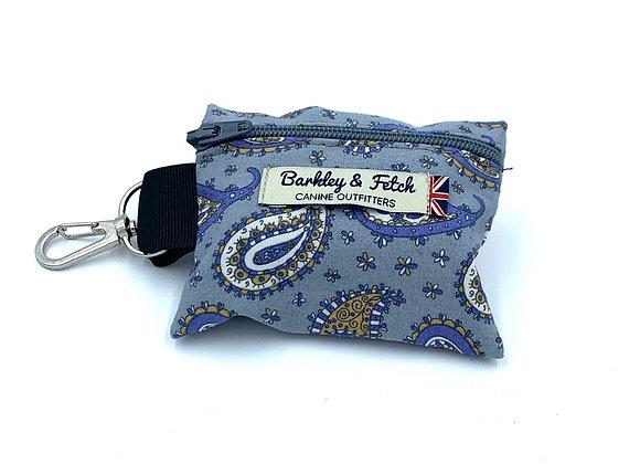 Blue Paisley Print Poo Bag Holder