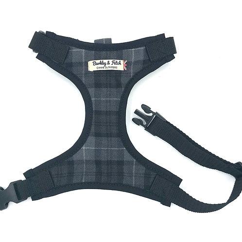 Grey Tartan Fabric Harness