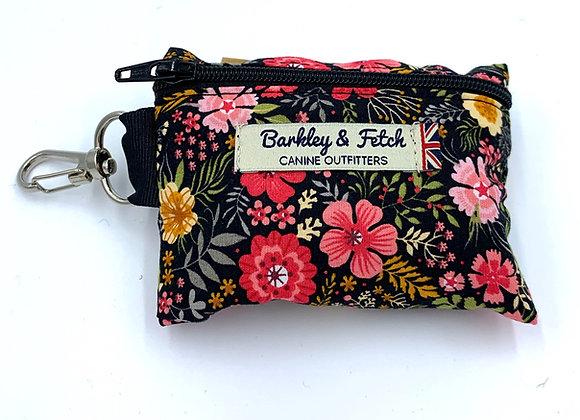 Black Ditsy Floral Print Poo Bag Holder