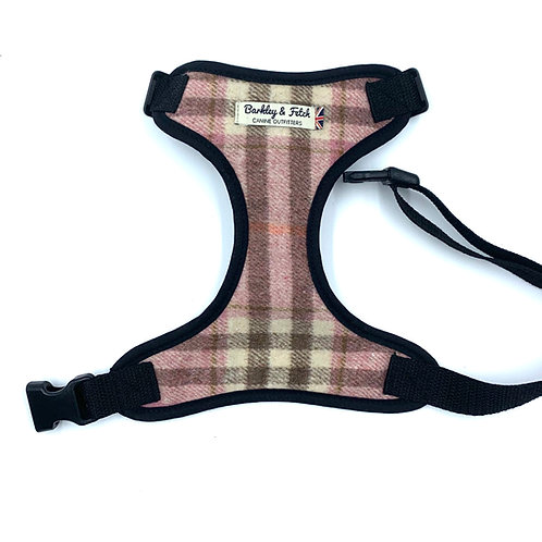 Pink Woolmix Check Dog Harness