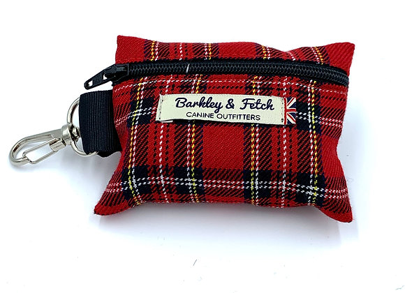 Red Tartan Poo Bag Holder