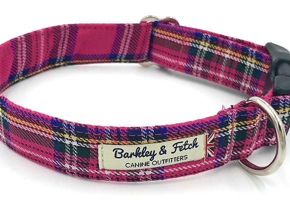 Bright Pink Tartan Dog Collar