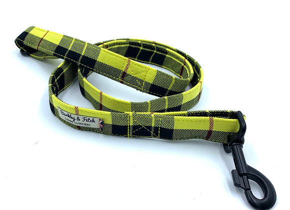 Yellow Tartan Dog Lead