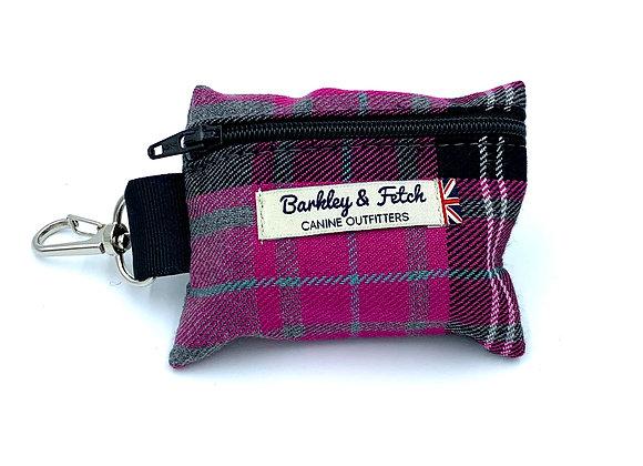 Pink & Grey Tartan Poo Bag Holder
