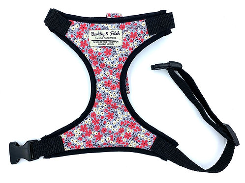 Grey/Pink Ditsy Flower Print Harness