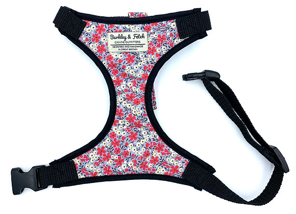 Grey/Pink Ditsy Flower Print Harness