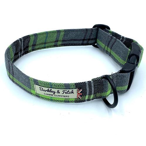 Green and Grey Tartan Dog Collar