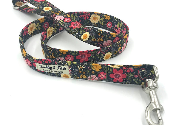 Black Ditsy Floral Print Dog Lead