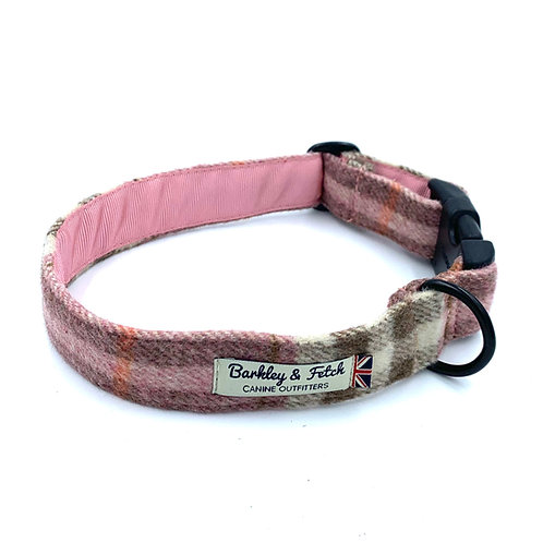 Pink Woolmix Check Dog Collar