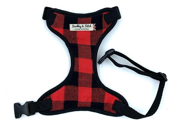 Red Lumberjack Dog Harness