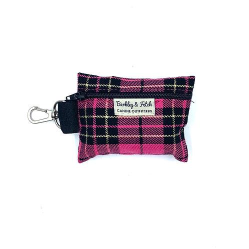 Pink/Gold Lurex Tartan Poo Bag Holder