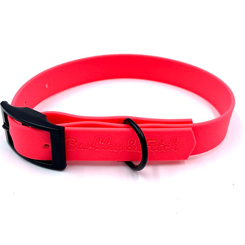 Neon Pink Waterproof Webbing Dog Collar