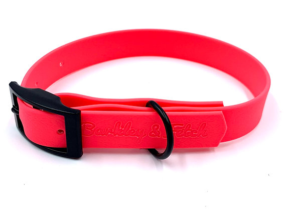 Neon Pink Waterproof Webbing Dog Collar