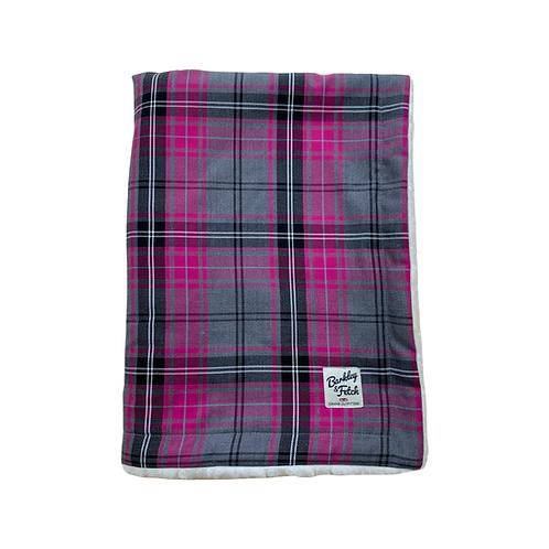 Pink and Grey Tartan Dog Blanket