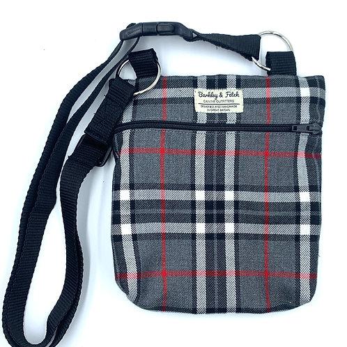 Grey/White Tartan Dog Walk and Treat Bag