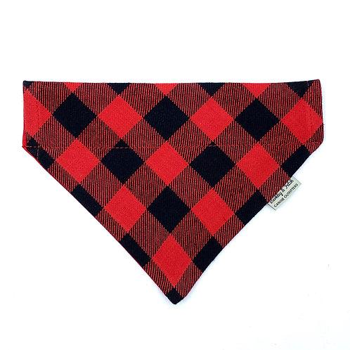 Red Lumberjack Dog Bandana