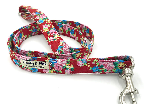 Red Ditsy Floral Print Dog Lead