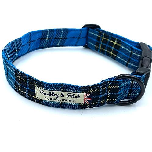 Turquoise/Gold Lurex Tartan Dog Collar