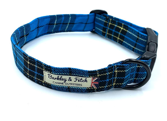 Turquoise/Gold Lurex Tartan Dog Collar