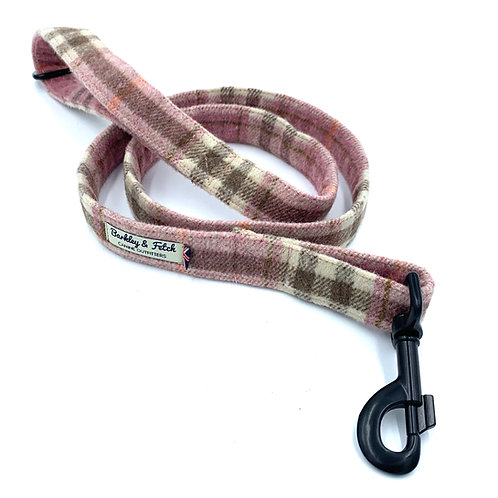 Pink Woolmix Check Dog Lead