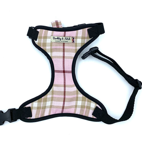 Pale Pink Tartan Dog Harness