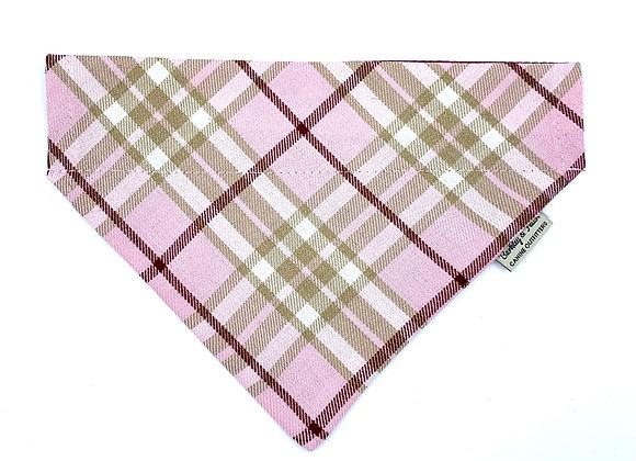 Pale Pink Tartan Dog Bandana