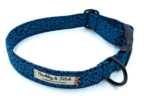 Teal Leopard Print Dog Collar