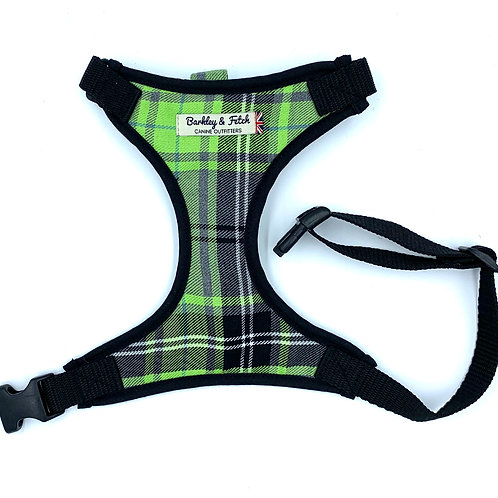 Green and Grey Tartan Dog Harness
