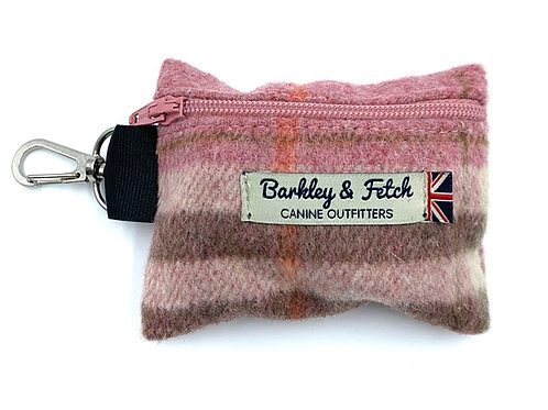 Pink Woolmix Check Poo Bag Holder