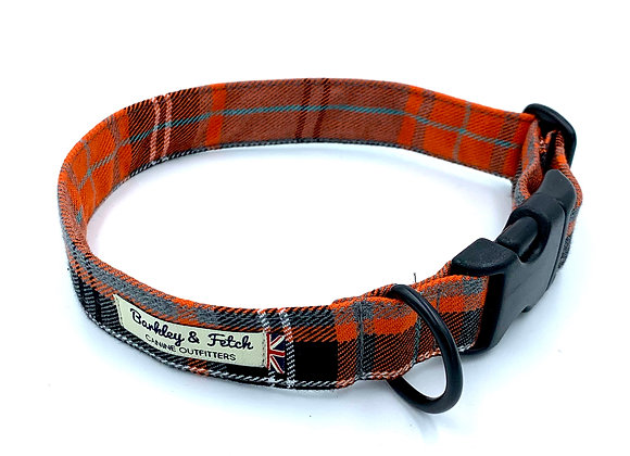 Orange Tartan Dog Collar