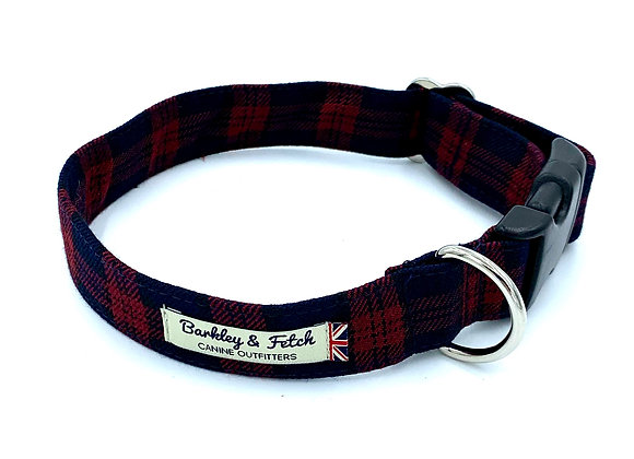 Burgundy/Navy Tartan Dog Collar