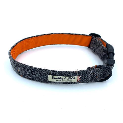 Grey Fleck Wool Dog Collar