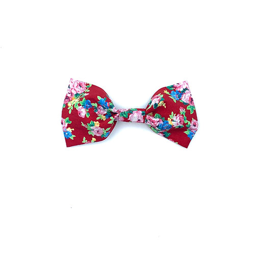 Red Ditsy Floral Print Dog Bow