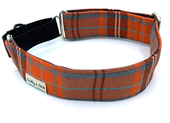 Orange Tartan Martingale Collar
