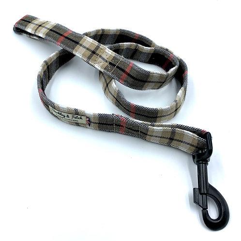Black Beige Tartan Dog Lead