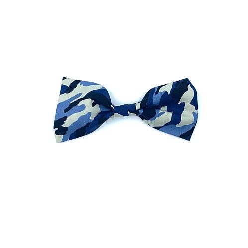Blue Camo Print Dog Bow