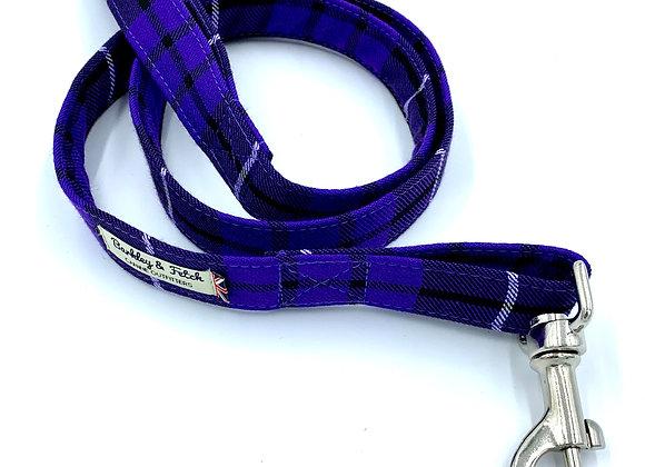 Purple Tartan Dog Lead