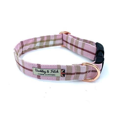Pale Pink Tartan Dog Collar